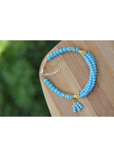 Stoneage Mint Mavi Çek Kristali Bayan Bileklik Mavi